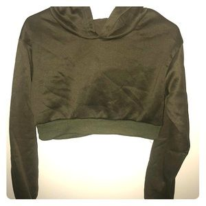 Tops - NWOT Olive Green Cropped Hoodie